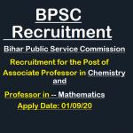 BPSC Associate Professor Chemistry Maths Recruitment