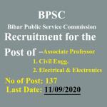 BPSC Associate Professor Recruitment 2020