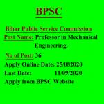 BPSC Professor Recruitment 2020