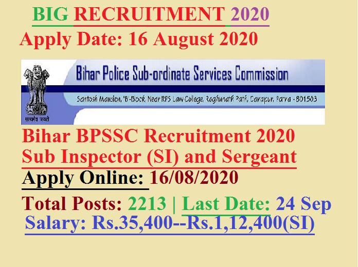 Bihar Police Sub Inspector and Surgeant