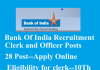 bank of india clerk and officer recruitments