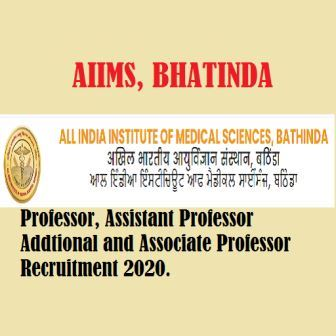 AIIMS Bhatinda Punjab Professor Recruitment 2020