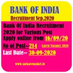 BOI Various Post Recruitment 2020