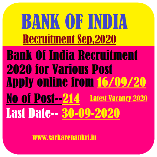 BOI Various Post Recruitment 2020
