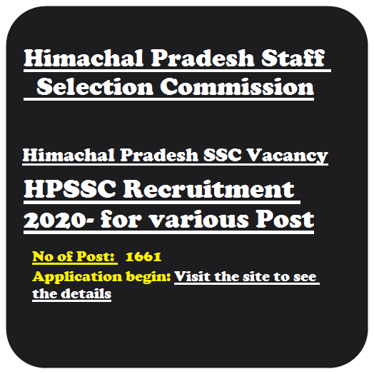 HPSSC Various Post Recruitment 2020