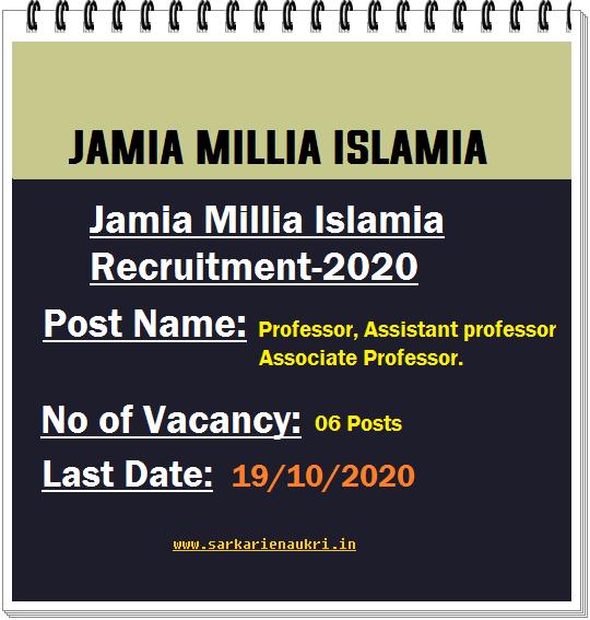 Jamia Professor Recruitment