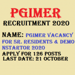 PGIMER Senior Resident Recruitment 2020