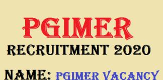 PGIMER Senior Resident Recruitment 2020