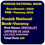 PNB Bank Specialist Officer SO