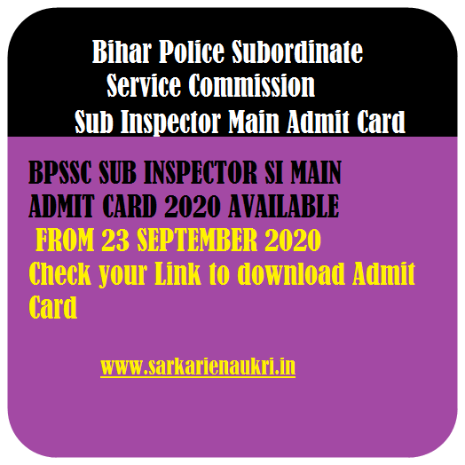 Police Sub Inspector Mains Admit Card