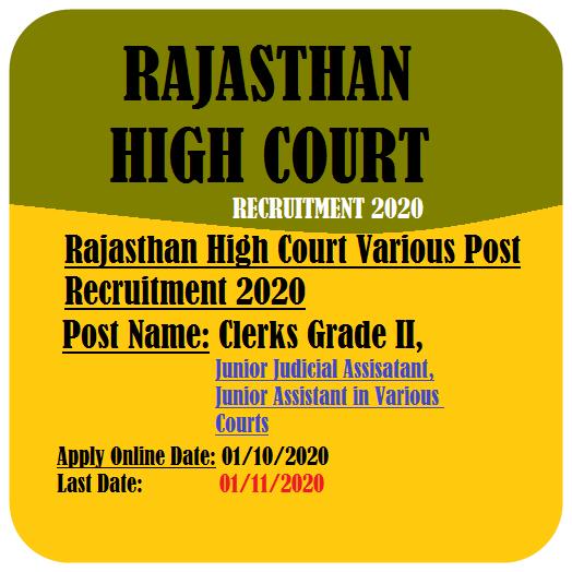 Rajasthan High Court Clerks JJA JA Recruitment
