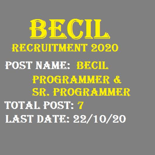 BECIL Senior Programmer Recruitment 2020