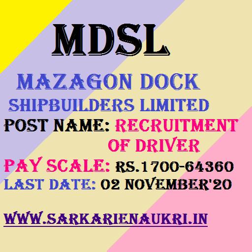 Mazagon Dock Driver Recruitment 2020.