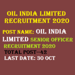 OIL India Limited Senior Officer Recruitment 2020