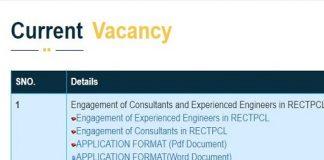 RECTPCL Engineers Consultant Recruitment 2020