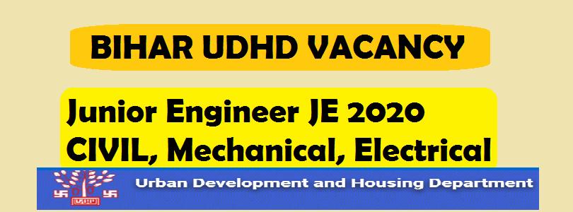 Bihar UDHD junior engineer JE 2020