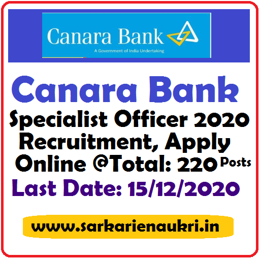 Canara Bank Specialist Officer SO Recruitment