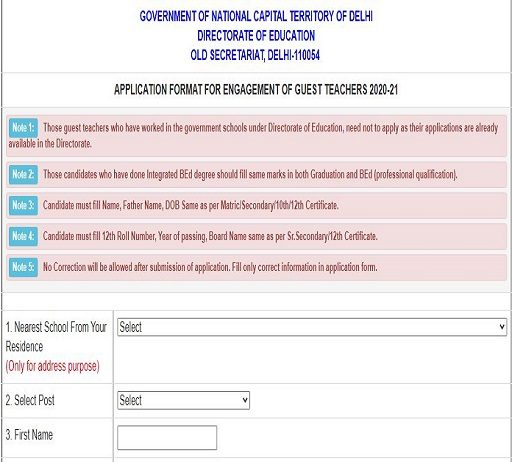 Delhi Guest teacher vacancy