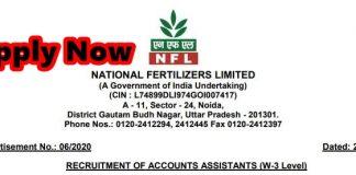 NFL Accounts Assistant Recruitment 2020-21