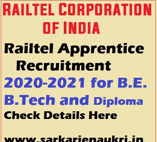 Railtel Apprentice Recruitment 2020