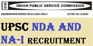 UPSC NDA and NA-I Recruitment