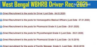 WBHRB Driver Recruitment 2021 .