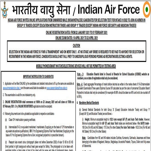 indian air force x y group vacancy