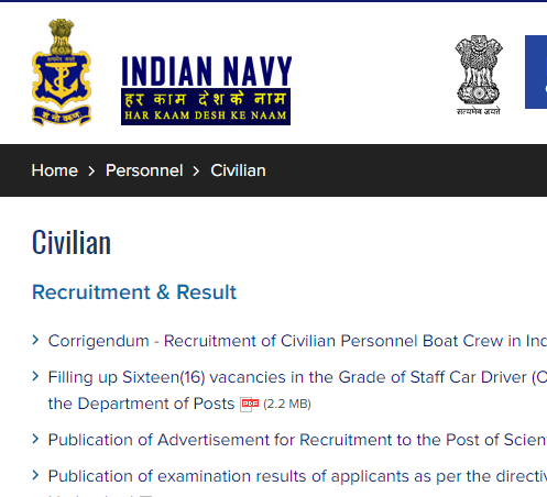 Indian Navy Tradesman Recruitment 2021 new