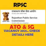 RPSC ATO and SG recruitment 2021
