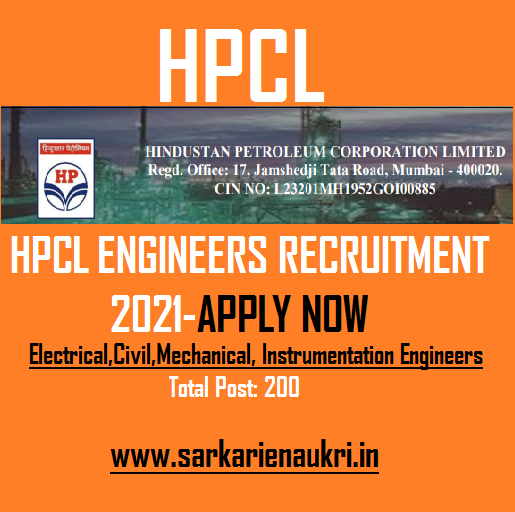 hpcl engineer recruitment 2021