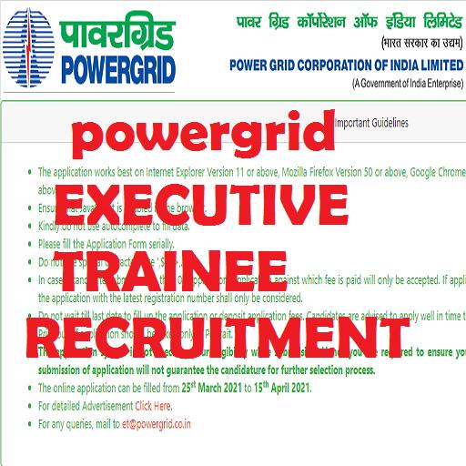 powergrid executive trainee recruitment 2021