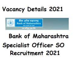 Bank of Maharashtra SO 2021